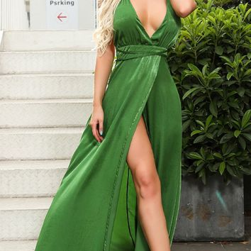 Invite To Party Green Sleeveless Spaghetti Strap Plunge V Neck Backless Cross Wrap Split Maxi Dress