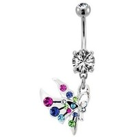 Colorful Gemmed Butterfly Belly Ring