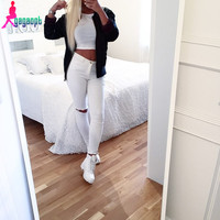 Gagaopt 2016 Women Jeans Pencil Pants White Ripped Jeans For Women Zipper Hole High Waist Jeans Skinny Pantalones