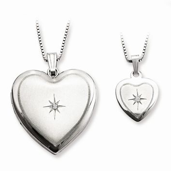 Sterling Silver Diamond Polished Satin Heart Mom Locket & Daughter Pendant Set