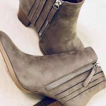 Stepping Out Grey Suede Booties - Simply Me Boutique SMB – Simply Me Boutique