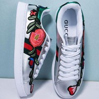 Gucci Fashion Flower Embroidery Old Skool Sneakers Sport Shoes