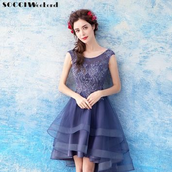 SOCCI Weekend Prom Dress 2018 short front long back Women Elegant Beaded Formal Birthday Party Dresses Zipper back Robe de Gown