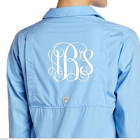 LIGHT BLUE Women's Columbia Long Sleeve Bonehead PFG Shirt - Monogrammed on Front or Back