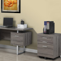 Dark Taupe Reclaimed-Look 3 Drawer File Cabinet/Castors