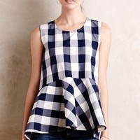 Checked Poplin Peplum Top