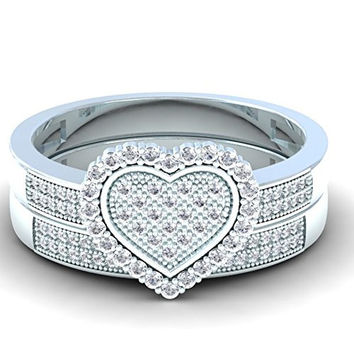 0.38 Carat (ctw) 10K White Gold Diamond Bridal Heart Shape Engagement Ring Band Set