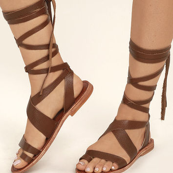 Sbicca Zaylee Brown Leather Lace-Up Flat Sandals
