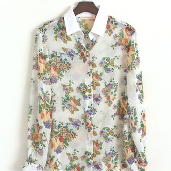 Womens Retro Vintage 70s/80s Floral Print Sheer Button Up Shirt Summer Blouse White Collar Pastel Flowers Loose Fit Long Sleeve Blouse SMALL