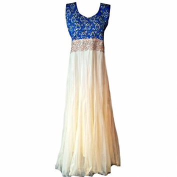 Hand Crafted Sleeveless White Sequin, Georgette White Bead Dress, Embroidered Long Evening Formal Prom Dress, Bridesmaids Dress,Indian Dress