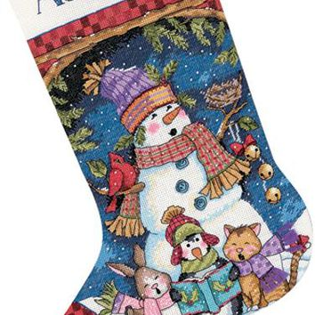 """Dimensions Counted Cross Stitch Kit 16"""" Long-Cute Carolers Stocking (14 Count)"""