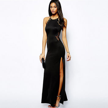 2017 Summer Side Slit Sexy Lace Dresses Sleeveless Maxi Gown Side Cut Lace Black Gothic Dress Long Evening Gowns Dresses Robe XL
