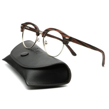 Natural Bamboo Sunglasses With Real Leather Case