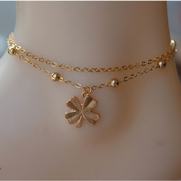 Shiny Stylish Ladies New Arrival Gift Jewelry Cute Sexy Accessory Simple Design Leaf Chain Anklet [6768751047]