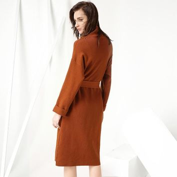 Women Party Pencil Dress Office Ladies Star Turtleneck Orange Beige A Line Dress Three Quarter Sleeve Slim Knitted Dress