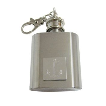Silver Toned Etched Skinny Nautical Anchor 1 Oz. Stainless Steel Key Chain Flask