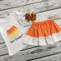 Baby Girls Halloween outfit, Baby Girl Clothes, Fall Outfits for Girls, Baby Girl Skirt, Shabby Candy Corn Shirt, Hair Bow, Pick & Choose