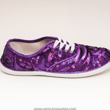 Sequin Swirl CVO Grape Purple Canvas Sneaker Tennis Shoes