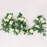 16 Heads Fake Rose Rattan Wall Decor Artificial Flower