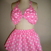 Pink Polka Dot Bow Bandeau Bikini Top and Skirt