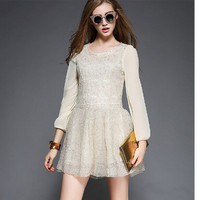 Vintage Embroidery Long Sleeve Skater Dress