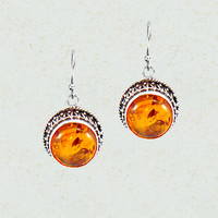 Luminous Amber Sterling Silver Earrings