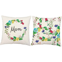 Set of 2 Mom Wreath Throw Pillows - Flower Print Pillow Covers - Mothers Day Print, Mothers Day Gift, Floral Print Throw Pillows, Botanical
