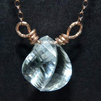 Crystal Quartz Necklace, Rose Gold Jewelry, AAA Gemstone, Handmade