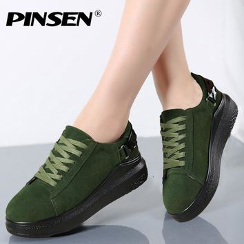 PINSEN 2017 Autumn Women Flats Women Leather Suede Lace up Platform Sneakers Thick Heel Casual Boat Shoes Ladies Oxfords Shoes