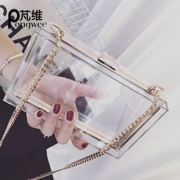 Classic Acrylic Women Clutch Shoulder Messenger Chain Evening Bag Ladies
