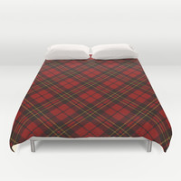 Adorable Red Christmas tartan Duvet Cover by PLdesign | Society6