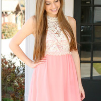 Oh La Lace Dress - Coral