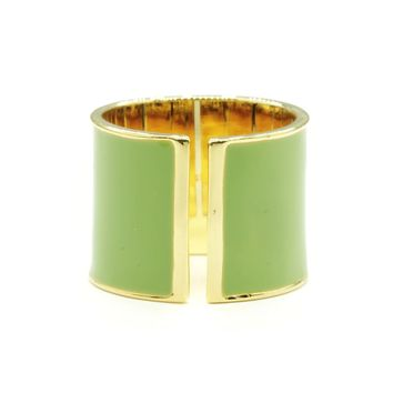 15mm Split Shank Cigar Band Ring in Green Epoxy and Gold Tone Finish