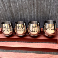 Stainless Steel Wine Glass Set of 4 with Game of Thrones Quotes, Hand Etched