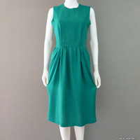 Green Linen Dress Summer dress Sleeveless Green Dress 1970's Zip Up Dress Small