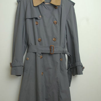 Vintage LANVIN 80s/90s Wool Inspector Gadget Trench Coat Jacket With Belt Beautiful and Amazing