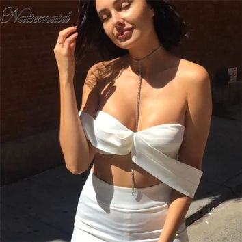 Two Piece Solid Outfits sexy Rompers Jumpsuits strapless Top Ruffles Bodycon flares Pantsuit