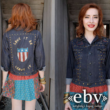 Vintage 70s Hand Painted Studded Denim Jacket XS S