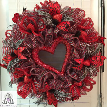 Valentine's Day Red/Silver Heart Ruffle Deco Mesh Wreath