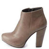 Chunky Heel Ankle Booties by Charlotte Russe - Stone
