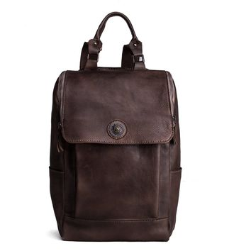 BLUESEBE HANDMADE VEGETABLE TANNED LEATHER BACKPACK 9026-DC