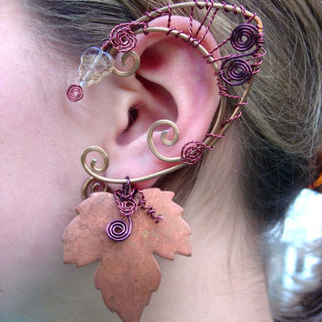 Awesome Pair of Druid Elf Faerie Ears with Copper Maple Leaves, Elf Ear Cuffs, Fairy, Renaissance, Elven