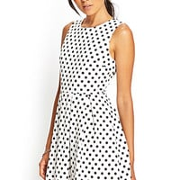 FOREVER 21 Pleated Polka Dot Dress Ivory/Black Large