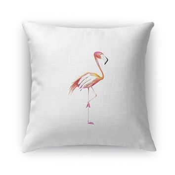 FLAMINGO TREE Accent Pillow By Birds Doing Yoga