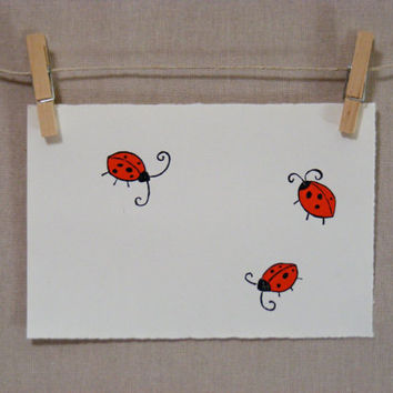 Ladybugs  PRINT  Hand Pulled Linocut by WoodenSpoonEditions
