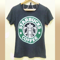Starbucks shirt mermaid coffee art graphic prints/ workout shirt/ crew neck tee/ casual soft fashion women clothing size S M L XL