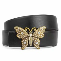 Free shipping-GUCCI new diamond-encrusted butterfly buckle wild personality belt