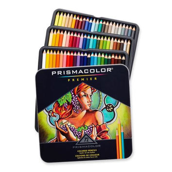 72 Prismacolor pencils - Premier colored pencils for adult coloring books - Prismacolor colored pencils in tin case - coloring pencils