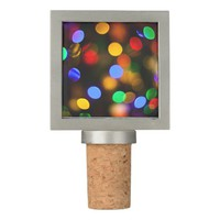 Multicolored Christmas lights. Wine Stopper