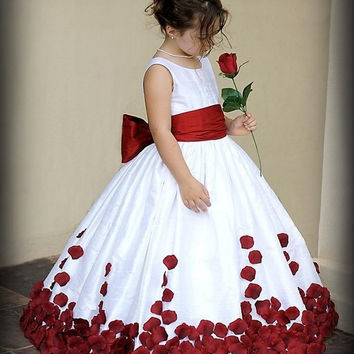 Pretty Flower Girl Dresses 2016 Red And White Bow Knot Satin Ball Gown Little Girl Party Holy Communion Dresses Pageant Gowns